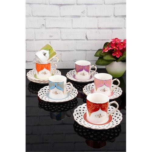 Paşahome Nakışlı Tuğra Model Porselen Lüx 6 Kişilik Renkli Kahve Seti