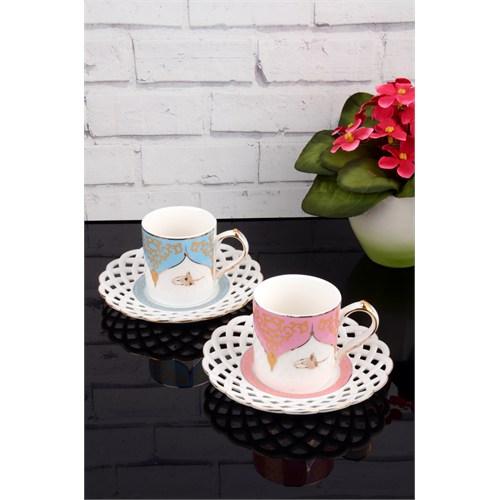 Paşahome Nakışlı Tuğra Model Porselen Lüx 2 Kişilik Renkli Kahve Seti