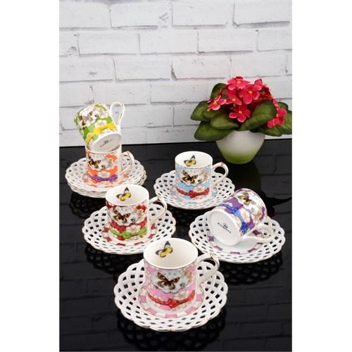 Paşahome Nakışlı Kelebek Model Porselen Lüx 6 Kişilik Renkli Kahve Seti