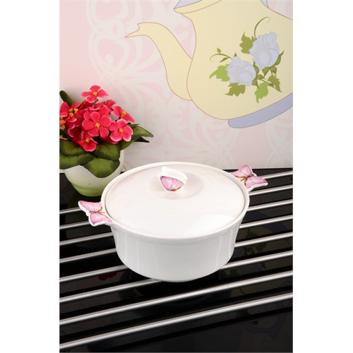 Paşahome Kelebek Motifli Isıya Dayanıklı Lüx Porselen Tencere- 950 Cc
