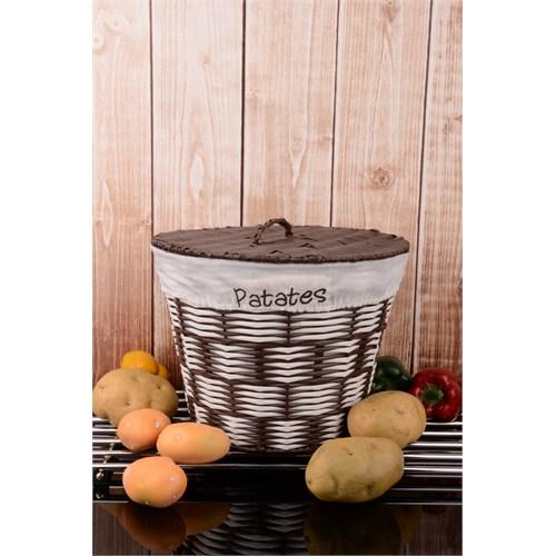 Paşahome Metal Üzeri Hasır Örme Ve Kapaklı Patates Soğan Sepeti