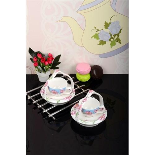 Paşahome Bone China Sepetli 2 Kişilik Kahve Fincan Seti