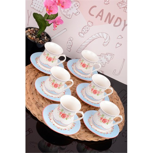 Paşahome Porselen, Kulplu Baskılı Özel Tasarım 6 Kişilik Çay Bardak Seti