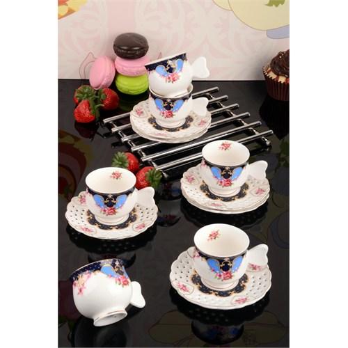 Paşahome Delikli Tabaklı Lüx 6 Kişilik Porselen Kahve Fincan Takımı