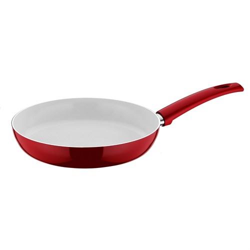 Taç Kırmızı Beyaz Seramik Tava 32Cm
