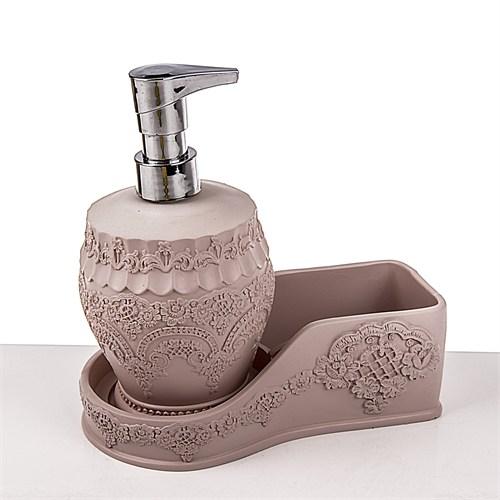 Mukko Home Polyester Mutfak Sıvı Sabunluk \ Süngerlik Seti - Flora Pembe