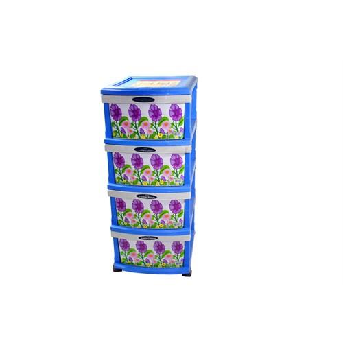 Safir Plastik 4 Çekmeceli Desenli Sebzelik Komidin