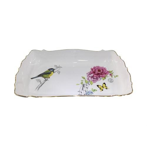 Fidex Home Kuşlu Dikdörtgen Büyük Derin Servis Tabağı