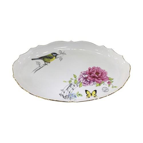 Fidex Home Kuşlu Oval Derin Büyük Servis Tabağı