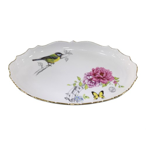 Fidex Home Kuşlu Oval Büyük Servis Tabağı