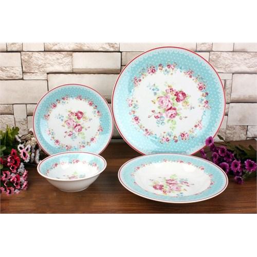 Acar Dekoremanya Çiçek Desenli Renkli 24 Parça Yemek Takımı Acr-5659
