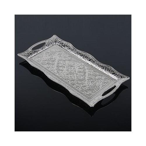 Hepsi Dahice Ottoman Stil 2 Kişilik Servis Tepsisi Gümüş