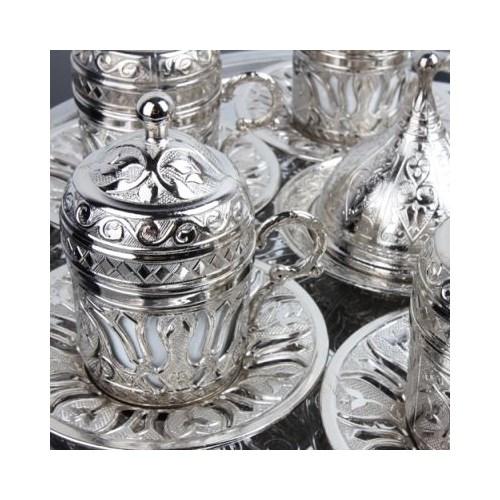 Hepsi Dahice Ottoman Stil Lale 6 Kişilik Kahve Seti - Gümüş