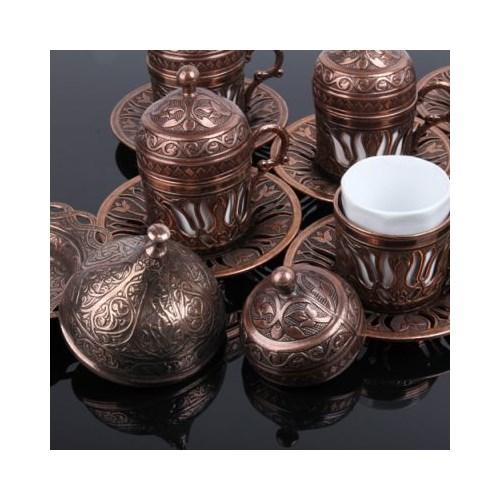 Hepsi Dahice Ottoman Stil Lale 6 Kişilik Kahve Seti - Bakır