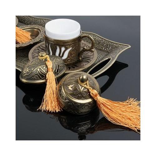 Hepsi Dahice Ottoman Stil Lale Çift Kişilik Kahve Seti Sarı