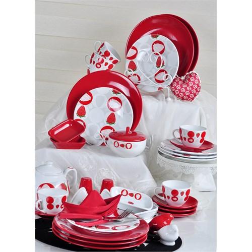 Keramika Set Ege Kahvaltı 34 Parça Beyaz004-Kırmızı 506 Straweberry A