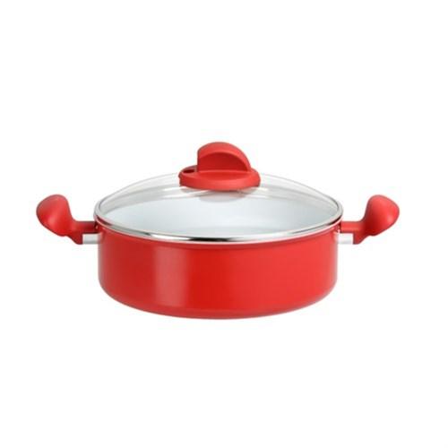 Tefal Ceramic Color Ind. Kırmızı Kısa Tencere 24Cm