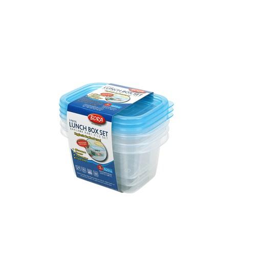 BO534 - 3'lü Dikdörtgen Saklama Kabı - 230 ml