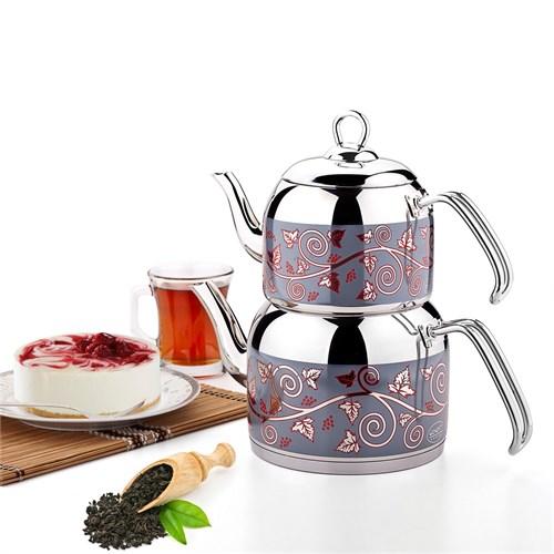 Özkent 311 Menekşe Mega Desenli Çaydanlık Çelik Saplı
