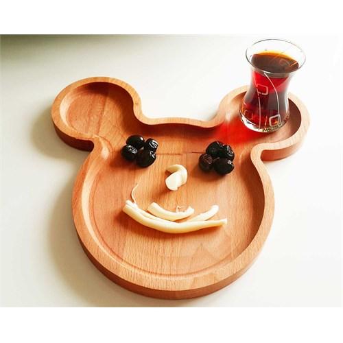 Te Home-Wooden-Mıckey-Kahvaltı Çocuk Servis Tabağı &Kahvaltılık