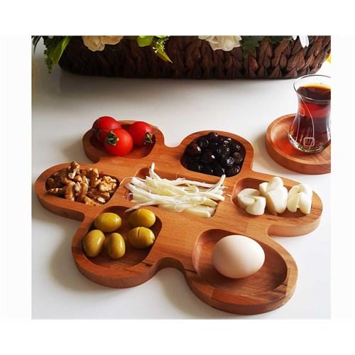 Te Home-Wooden-Seven Kahvaltı Tabağı - Çerezlik