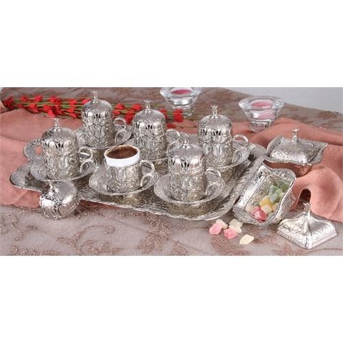 Akm Gümüş Kaplama Türk Kahve Seti Kare Tepsi 6 Lı