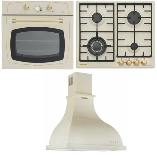 Silverline Rustik Ankastre Set; Rs6235c01 Ankastre Fırın, Rs5322c01 Ankastre Ocak, 2238 Retro Beyaz Davlumbaz
