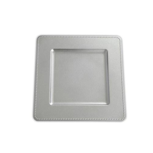 Kancaev Dekoratif Plastik Supla/Tabak Altlığı Kare Kenarı Toplu - Gümüş 6'Lı Set
