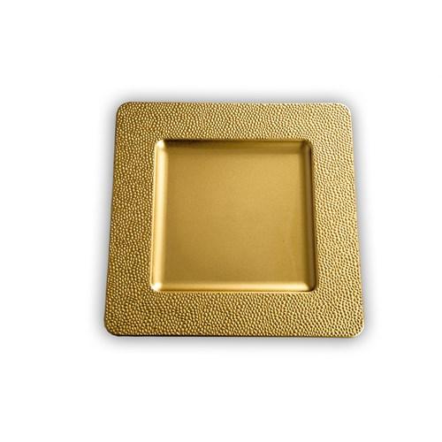 Kancaev Dekoratif Plastik Supla/Tabak Altlığı Kare Kenarı Mini Kabartmalı - Altın 6'Lı Set