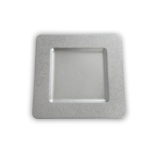 Kancaev Dekoratif Plastik Supla/Tabak Altlığı Kare Kenarı Mini Kabartmalı - Gümüş 6'Lı Set