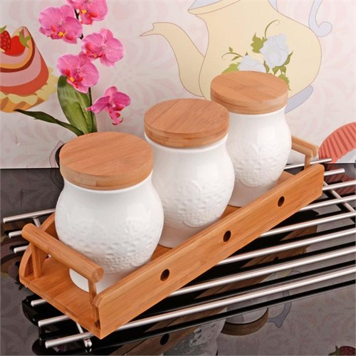 İhouse5916 Bambulu Porselen Baharatlık Beyaz