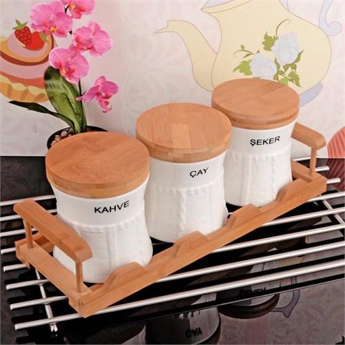 İhouse5920 Bambulu Porselen Baharatlık Beyaz