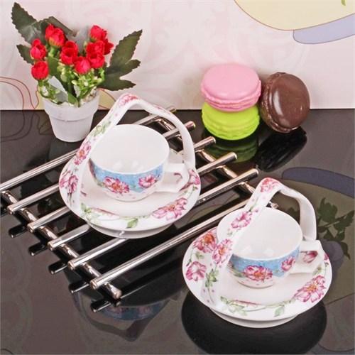 İhouse11806 Porselen Kahve İkram Seti Beyaz