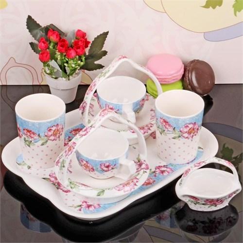 İhouse11803 Porselen Kahve İkram Seti Beyaz