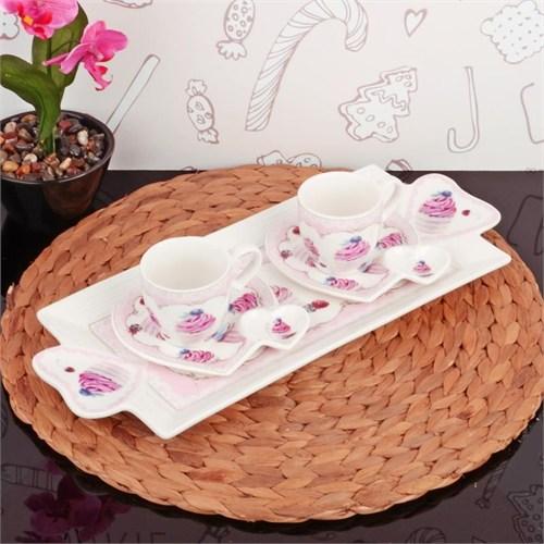 İhouse2506 Porselen 2 Li Kahve İkram Seti Beyaz
