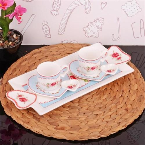İhouse2507 Porselen 2 Li Kahve İkram Seti Beyaz
