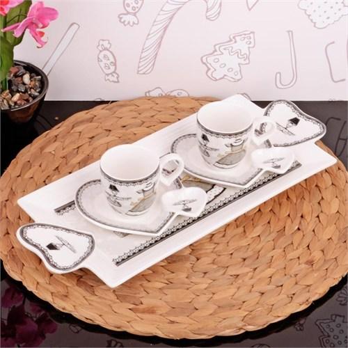 İhouse2509 Porselen 2 Li Kahve İkram Seti Beyaz
