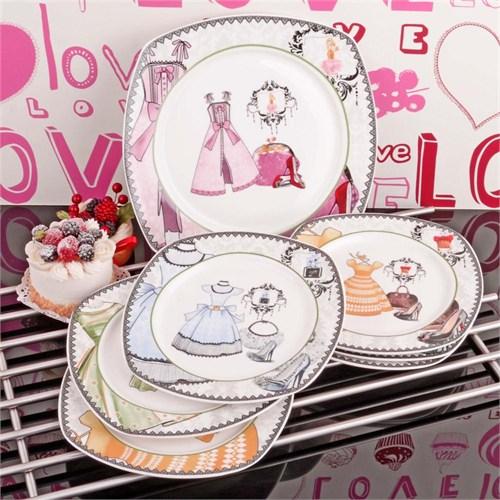 İhouse8313 Porselen Pasta Seti Beyaz
