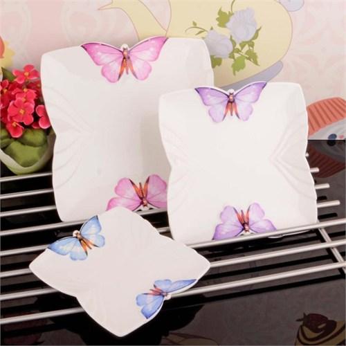 İhouse8007 Porselen 3 Lü Servis Tabağı Beyaz