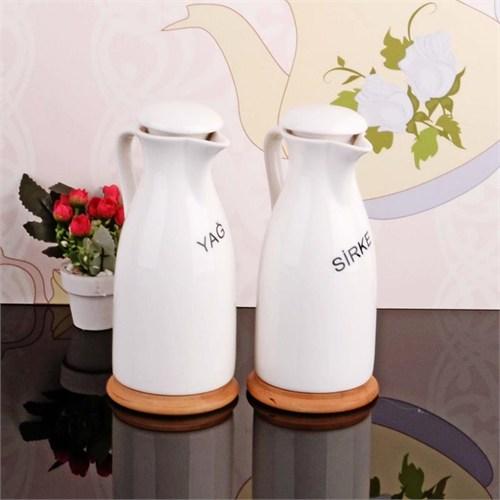 İhouse5932 Bambulu Porselen Yağlık Sirkelik Beyaz