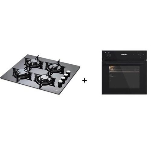 Kumtel 2'li Ankastre Set (KO-A6S2 Siyah Ankastre Fırın + Luxell LX-40 TAHDF 4 Gözü Gazlı Siyah Cam Ankastre Ocak)