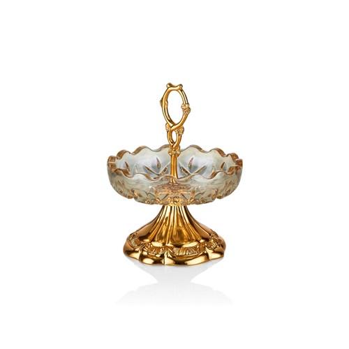 Cemile Altın Kaplama Kulplu Amber Luster Şekerlik
