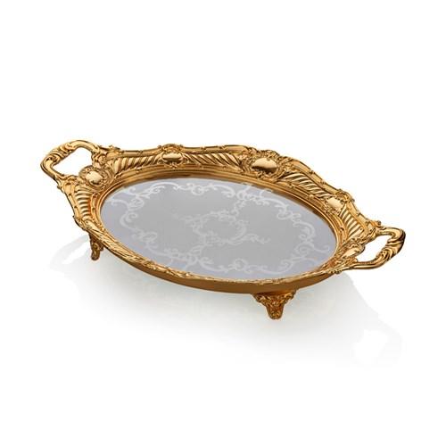 Cemile Altın Kaplama Amber Camlı Orta Boy Oval Tepsi