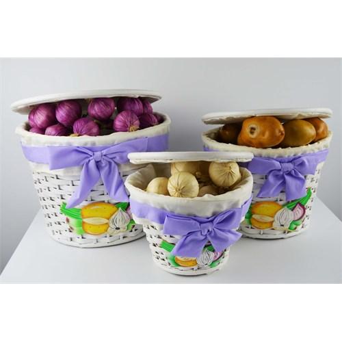 Cosiness Hasır 3'Lü Patates-Soğan Sepeti - Lila