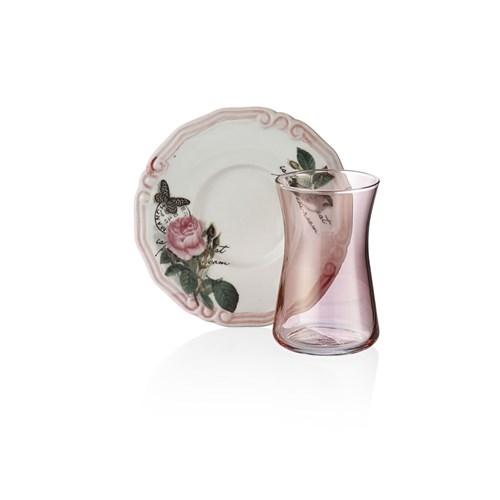 Laviva Rosa 12'Li Çay Takımı - Pembe