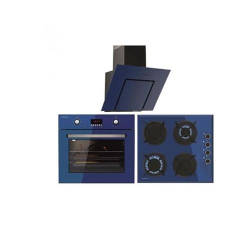 Termikel 3'lü Ankastre Lumex Blue ( BO 6000 Fırın+17152 604D LPG/NG Ocak+Lumex 6035 Davlumbaz