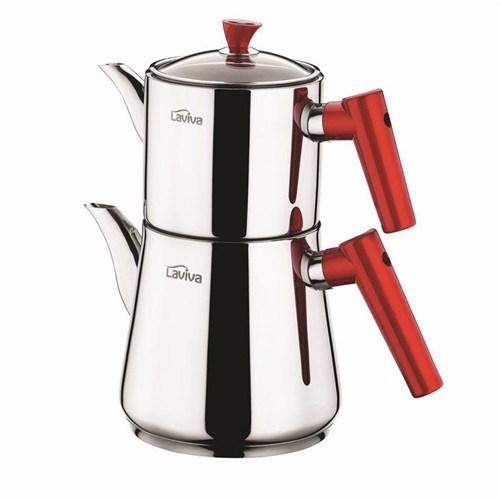 Laviva Eva Çelik Çaydanlık - Kırmızı