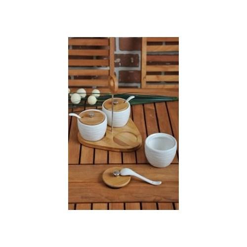 LoveQ Bambu Standlı 3'Lü Porselen Baharat Takımı