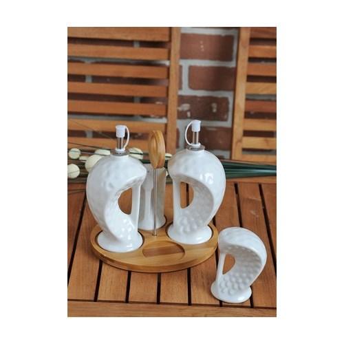 LoveQ Bambu Standlı Yağlık Sirkelik Tuzluk Set