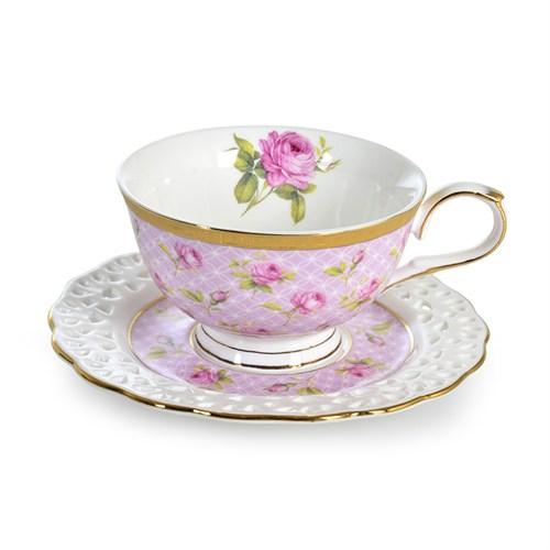 LoveQ 2'Li Gül Desenli Porselen Çay Seti